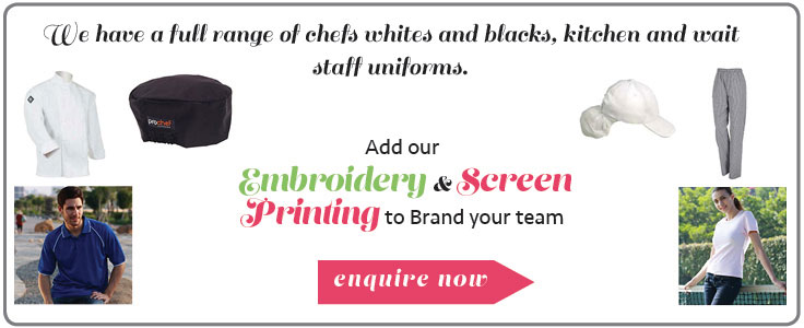 We have a full range of chefs whites and blacks and kitchen and wait staff uniforms